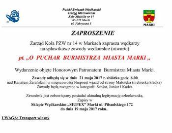 Zaproszenie na Zawody Spławikowe o Puchar Burmistrza Miasta Marki