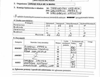 Zawody Gruntowe o Mistrzostwo Koła. Wieliszew 02.07.2017 r.