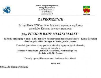 Zaproszenie Zawody gruntowe o Puchar Rady Miasta Marki