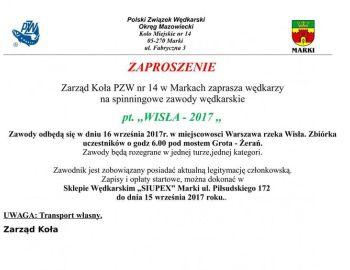 Zaproszenie na zawody spinningowe na Wiśle 16.09.2017 r.