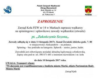 Towarzyskie Zawody Spiningowo - spławikowe 11.11.2017 r Aleksandrów