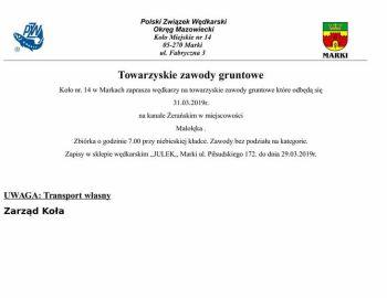 Towarzyskie zawody gruntowe 31.03.2019 r