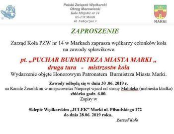 Zawody spławikowe mistrzowskie o Puchar Burmistrza Miasta Marki