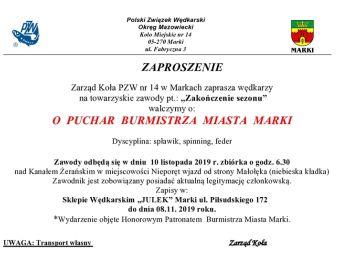 """Zawody Towarzyskie pt """"Zakończenie sezonu"""" o Puchar Burmistrza Miasta Marki"""